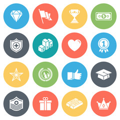 Awards, achievements round vector icons