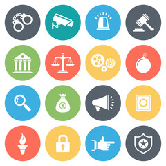 Law, order, justice round vector icons