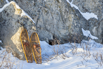 vintage snowshoes and rocks