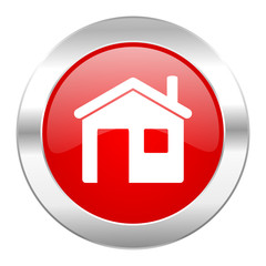 house red circle chrome web icon isolated