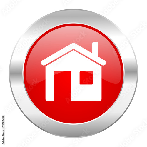 canvas print picture house red circle chrome web icon isolated