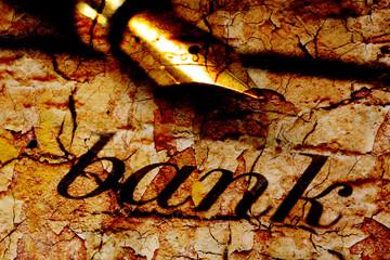 Fountain pen on bank text