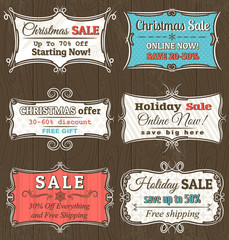 christmas  labels with sale offer, vector illustration