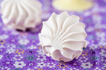Vanilla marshmallows, selective focus