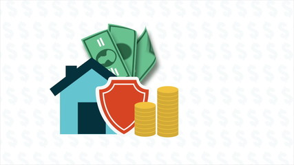 Home, money and shield icons, Animation Design, HD 1080