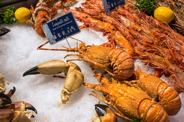 Prawns for sale in Trouville fish market in Normandy France