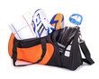 Leinwanddruck Bild - Sporttasche mit Handtuch, Turnschuhen, Trinkflasche