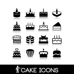 Cakes icons set - bakery, sweets, donut, cupcake collection