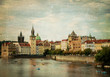 Prague retro cityscape