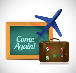 come again travel sign illustration design