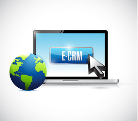 computer e crm button illustration