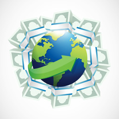 money around a globe. illustration