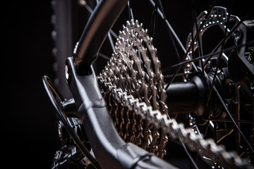 close-up of mountain bike, studio shot.