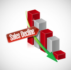 sales decline business graph illustration