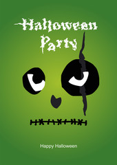 Halloween face green background