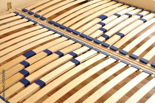 Leinwanddruck Bild Lattenrost im Doppelbett
