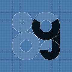 Round engineering font. Symbol Y