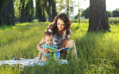 Mother reading fairy tales for the child