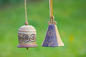 Ceramic bells in garden