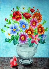 Colored Pencil Flower Vase Drawing
