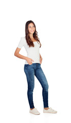Beautiful young girl with jeans