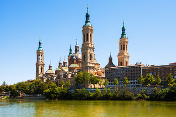 view of of Cathedral in Zaragoza from river