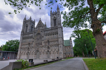 Park view for Nidaros cathedral in Trondheim