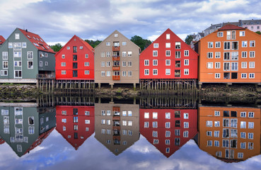 Water reflection of typical Trondheim architecture