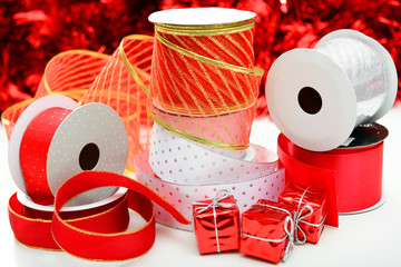 red and white ribbon for gifts
