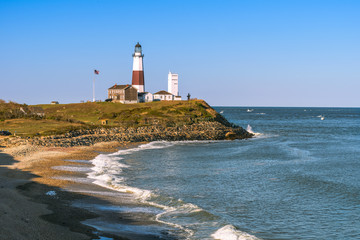 Montauk Point Lighthouse and beach from the cliffs of Camp Hero.