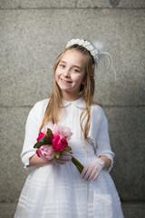 comunion,fiesta,niña con flores
