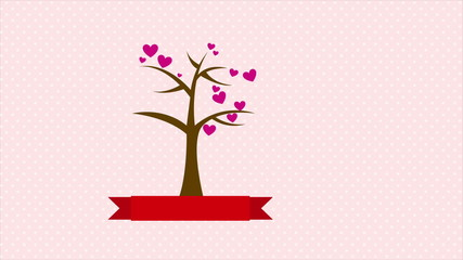 Tree with hearts with blank ribbon, Animation Design, HD 1080