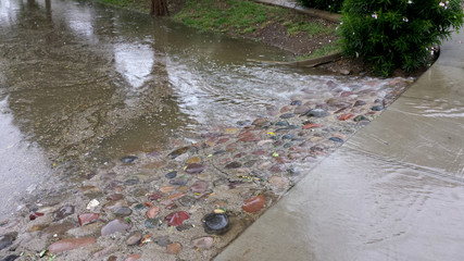Flood overflow on Phoenix streets, AZ