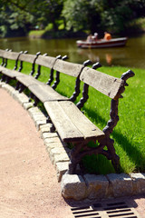 Wooden benches at park