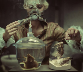 Retro chemist making an experiment