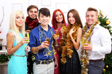 Young people celebrating Christmas