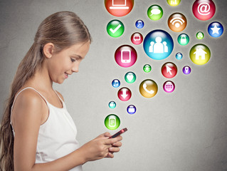 teenager girl using texting on smartphone application icons fly