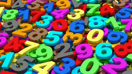 numbers. from zero to nine. 3d