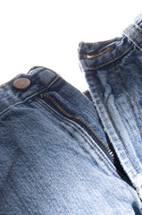 Old Denim Blue Jeans Button and Zipper