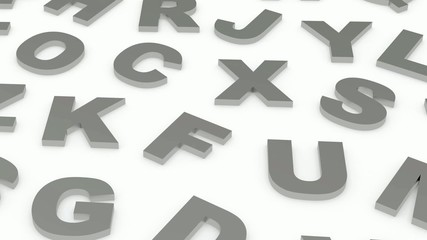 letters of the English alphabet. 3d