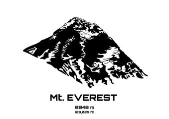 Outline vector illustration of Mt. Everest