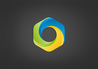hexagon business logo abstract circle swirl icon Vector