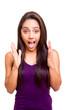 Brunette woman surprised