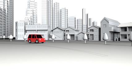 ビル街を走る自動車