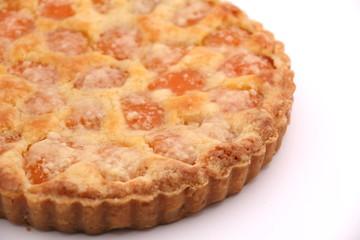 fresh baked apricot  pie dessert.