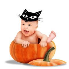 хеллоуин, ребенок с маской кота на голове сидит в тыкве