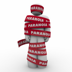 Paranoia Word Man Wrapped Tape Anxious Stress Worry