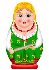 матрешка, деревенская баба со скалкой в руках