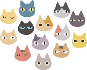 たくさんの猫の顔