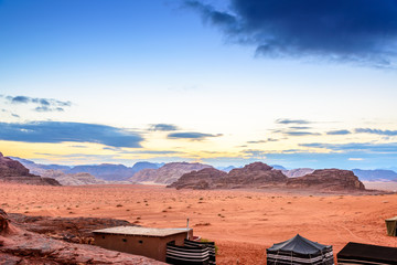 Jordanian desert at twiligt in Wadi Rum, Jordan
